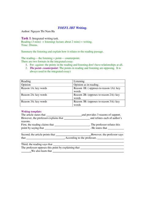 toefl ibt essay sles issuu toefl ibt writing template by ha nguyen