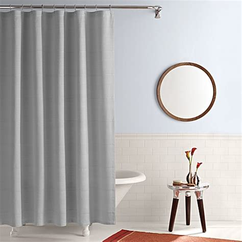 Simple Shower Curtains Buy Real Simple 174 Shower Curtain In Linear Grey From Bed Bath Beyond