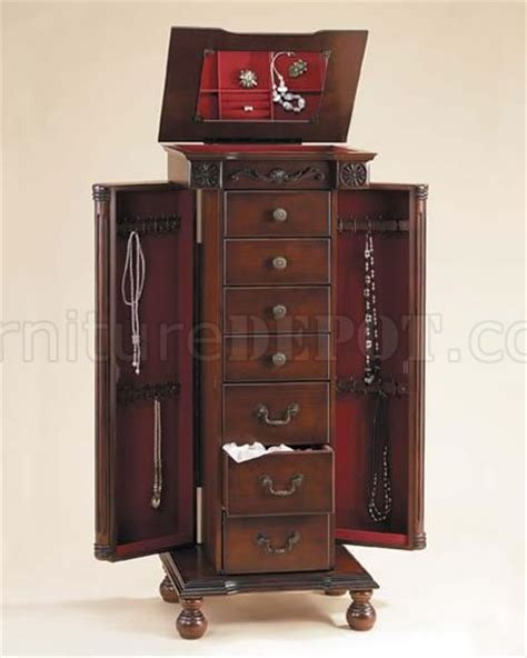 Jewelry Armoire Cherry Finish by Cherry Finish Jewelry Armoire With Top Storage