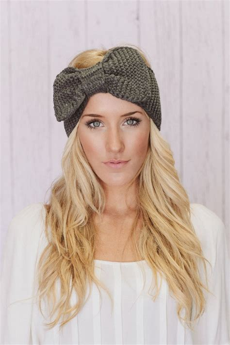 knitted head bangs styles knitted bow headband oversized bow ear warmer in gray