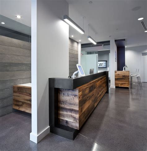 Dental Reception Desk Designs Reception Area Check Out Reclaimed Wood Around A Wall Patient Computer Counter Clinica