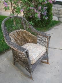 Antique wicker rocker rocking chair original cushions patio furniture ebay