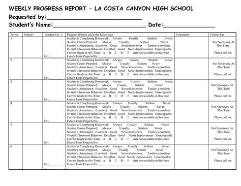 Weekly Progress Report Template Middle School Best Photos Of Sle School Progress Report High School