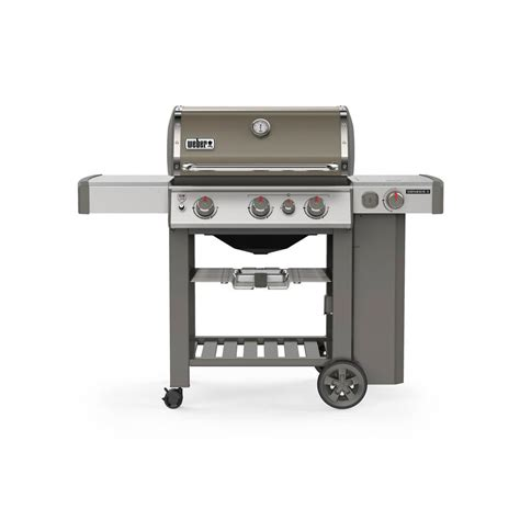 weber genesis e 330 weber genesis ii e 330 3 burner propane gas grill in smoke with built in thermometer and side