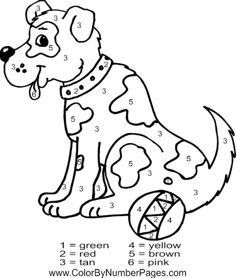 free color by numbers animals coloring pages