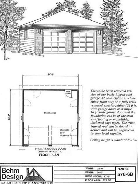 Brick Garage Construction Drawings - hipped roof two car garage with front brick veneer plan