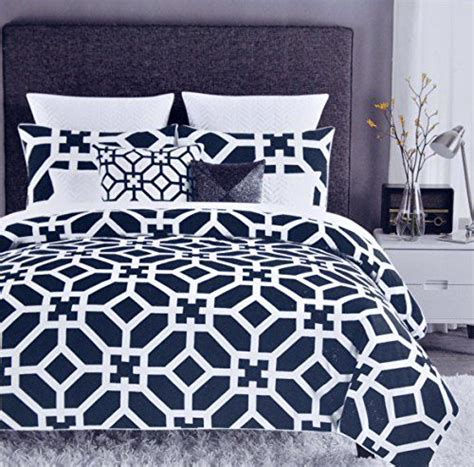 Navy And White Duvet Cover Set Max Studio Modern Lattice Geometric Pattern 3pc King Duvet