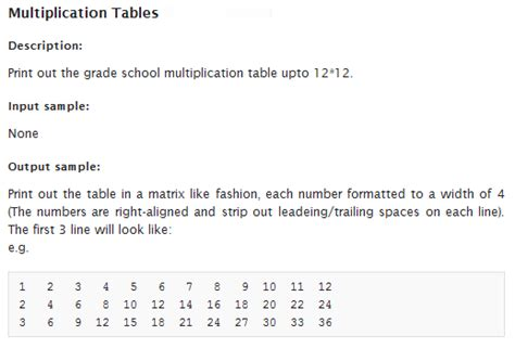 printable multiplication table java java how to align string on console output stack overflow