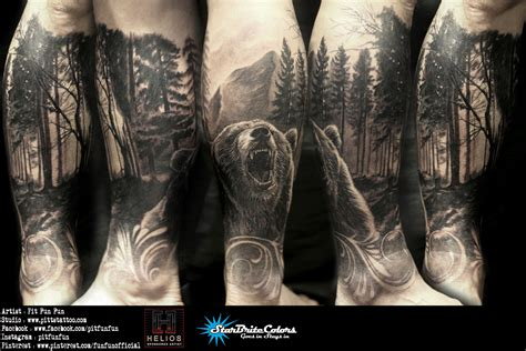dark forest tattoo realistic with forest by pit penang