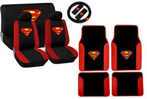 Matching Floor Mats And Seat Covers Superman Logo Trim Seat Cover Set Matching Floor Mats