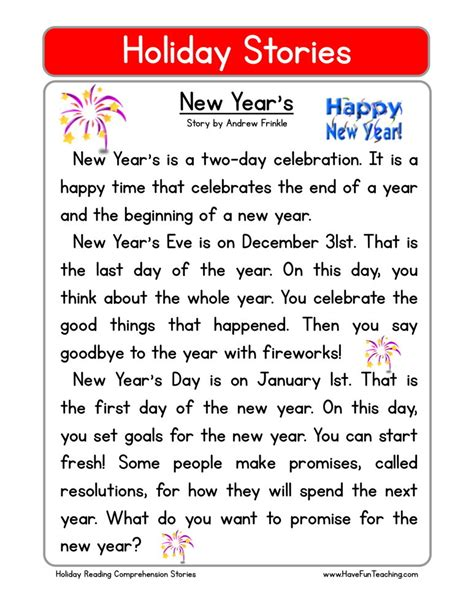 new year story reading comprehension worksheet new year s