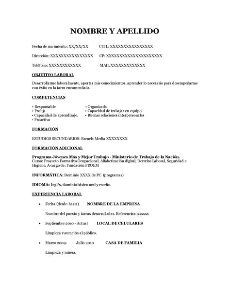 Modelo Curriculum Vitae Simple Word Modelo Cv Sencillo Operador De Pc