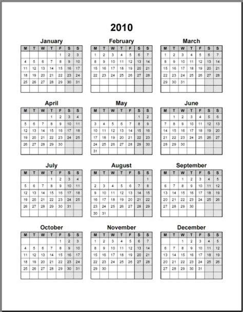 Calendario Word 10 Calendari Annuali 2010 In Pdf E Word Da Stare