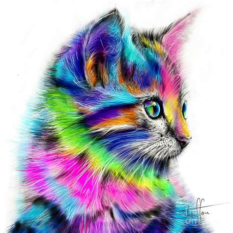 colorful cats rainbow cat painting by shaff oceans
