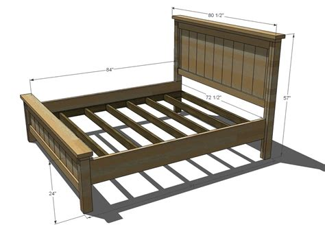 King Size Bed Frame Measurements White Farmhouse Bed Calif King Diy Projects