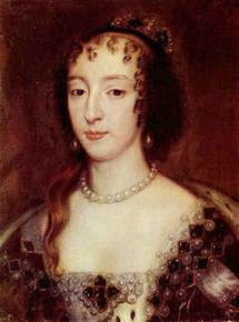 17th cenury curly haired queen henrietta maria wife of king charles i henrietta