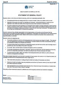 Health Safety Statement Template by Health And Safety Statement