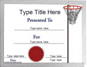 sports certificates netball tempalate