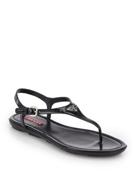 black prada sandals lyst prada patent leather t sandals in black