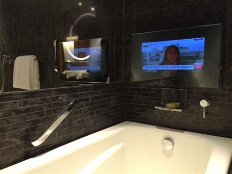 tv in a bathroom free minibar picture of hotel icon hong kong tripadvisor