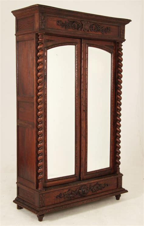 european armoire european carved oak mirror door armoire