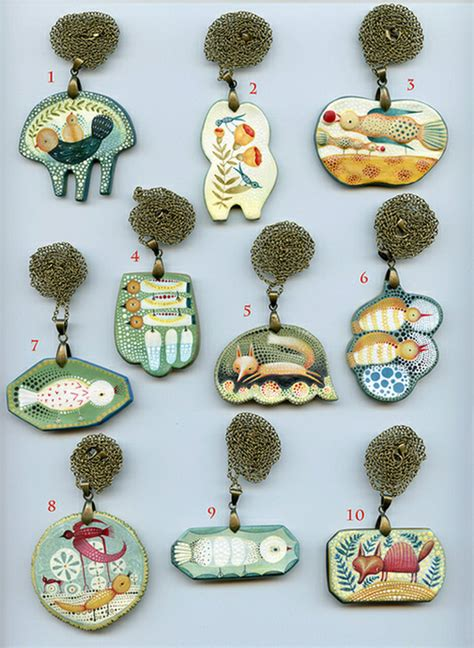Paper Clay Jewelry - paper clay pendants by elsa mora imaginative bloom
