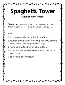 spaghetti tower challenge stem challenge spaghetti and marshmallow tower by