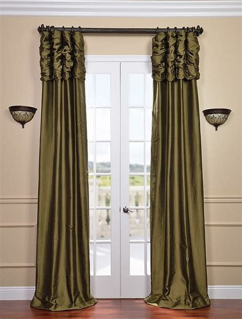 Ruched Sage Green Thai Silk Curtain Traditional
