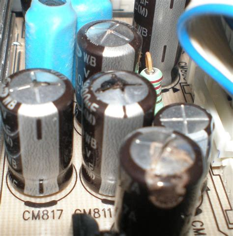 bad capacitor appearance a toshiba 32wlt58 no standby light tested both leds 5v to the power relay clicking