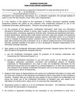 Standard Non Disclosure Agreement Template Standard Non Disclosure Agreement Form 10 Free Word