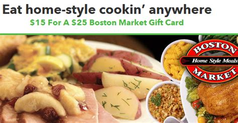 Who Sells Boston Market Gift Cards - 15 for a 25 boston market gift card the savvy student shopper