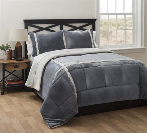 charcoal royal plush reverse to sherpa comforter set