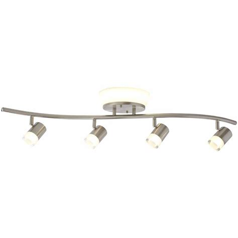 Led Ceiling Track Lights Hton Bay 2 85 Ft 4 Light Brushed Nickel Integrated Led Track Lighting Kit With Flush Mount