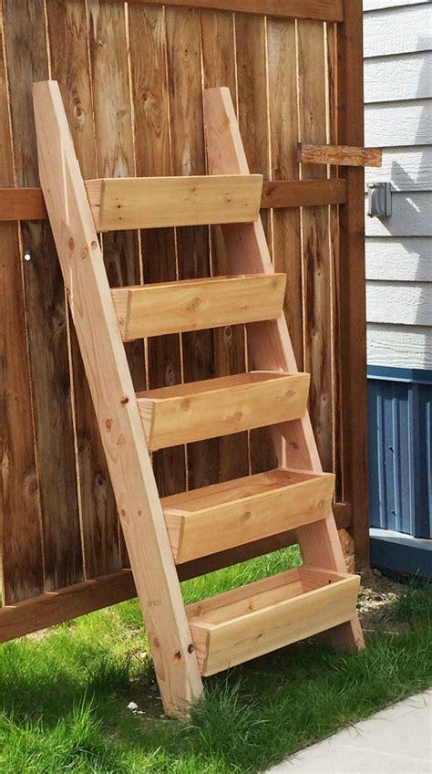 Cedar Planter Boxes Plans by White Cedar Vertical Tiered Ladder Garden Planter
