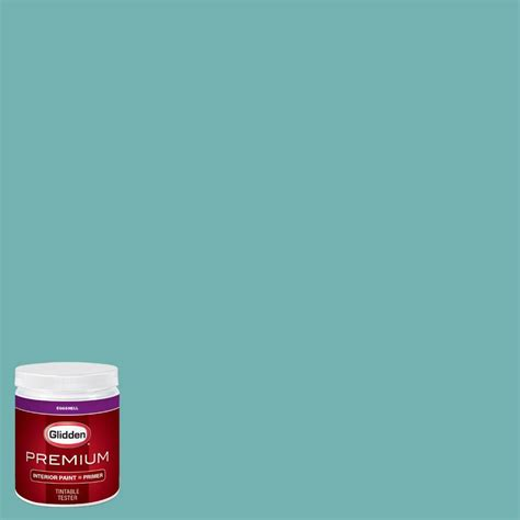 glidden premium 8 oz hdgb21u sea of turquoise eggshell interior paint with primer tester