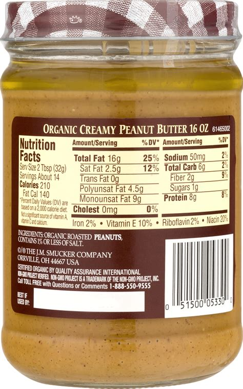 Planters Peanut Butter Nutrition Facts by Calories In Peanut Butter Without