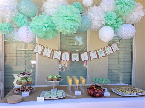 wedding bridal baby shower ideas on pinterest bumble bridal shower mint to be tissue paper pom decorations