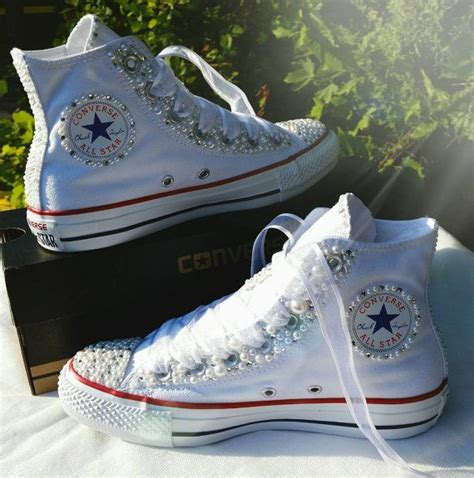 braut turnschuhe wedding converse bridal sneakers bling pearls custom