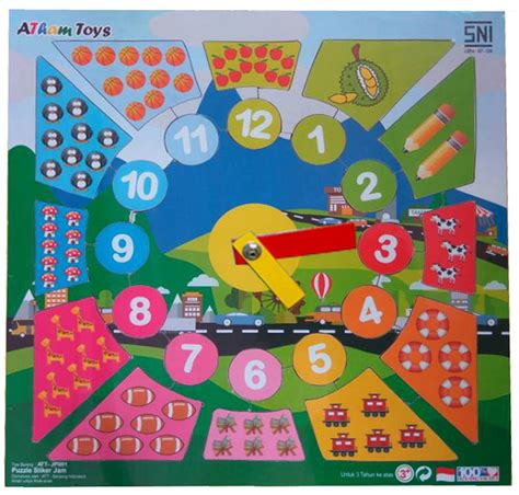 Mainan Edukatif Edukasi Anak Puzzle Stiker Hewan Ternak Peternakan puzzle stiker jam mainan kayu edukasi anak