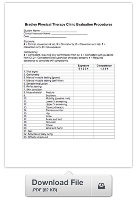 bradley physical therapy clinic 187 evaluation procedures