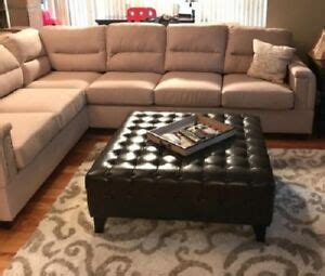 large bonded faux leather ottoman coffee table tufted