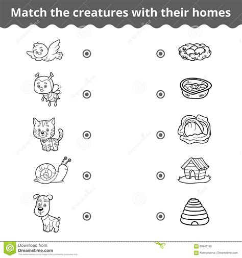 matching game  children animals   homes stock
