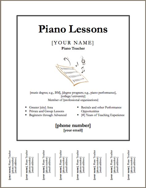 downloadable poster templates downloadable template for a poster for piano lessons