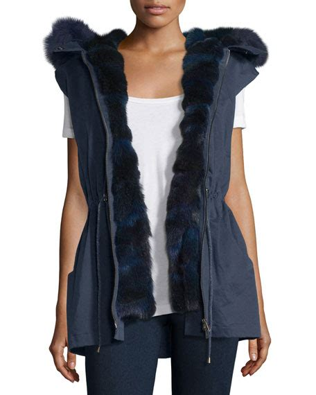 Ivora Drawstring Vest In Navy pologeorgis twill fur trim drawstring vest navy neiman