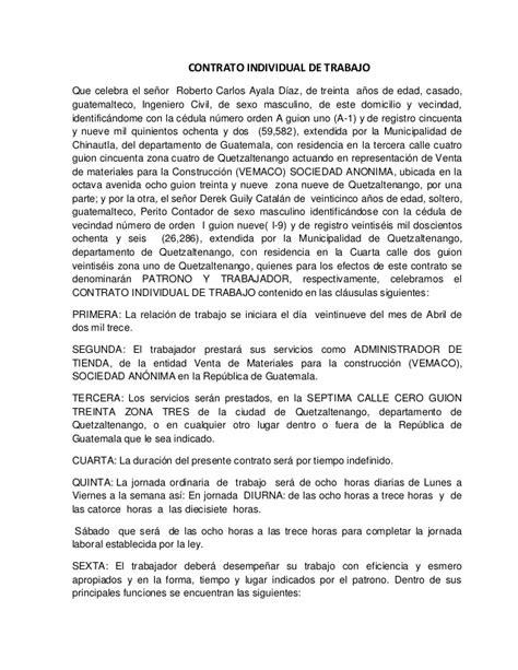 contratos de trabajo bonificados 2016 contrato de trabajo individual gesti 243 n de talento humano
