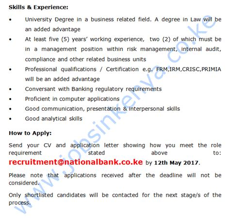 bank compliance national bank compliance ethics manager in kenya a