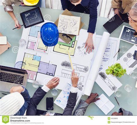 group  interior designers working  stock image