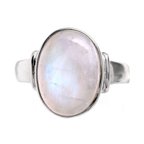 Moonstone Ring sterling silver and oval rainbow moonstone ring
