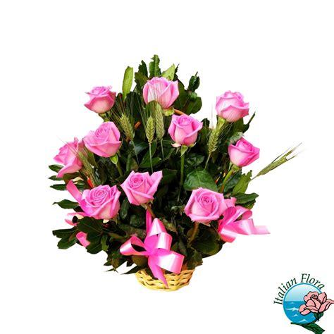 buche di fiori per compleanno cestino di rosa