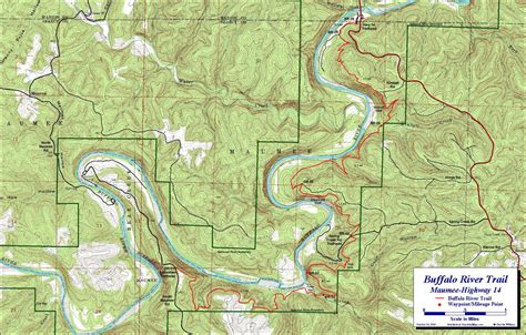 buffalo river map buffalo river trail maumee section free detailed topo map